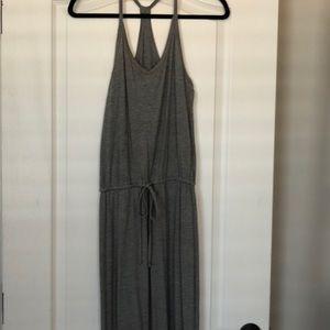 Gray Drawstring Maxi Dress